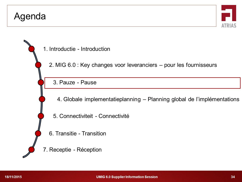 UMIG 6.0 Supplier Information Session 3418/11/2015 1. Introductie - Introduction 2. MIG 6.0 : Key changes voor leveranciers – pour les fournisseurs 4.