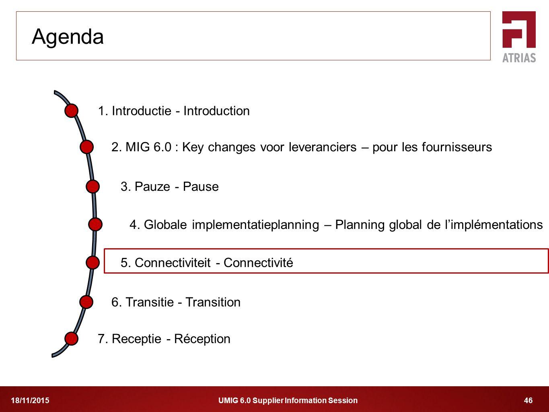 UMIG 6.0 Supplier Information Session 4618/11/2015 1. Introductie - Introduction 2. MIG 6.0 : Key changes voor leveranciers – pour les fournisseurs 4.