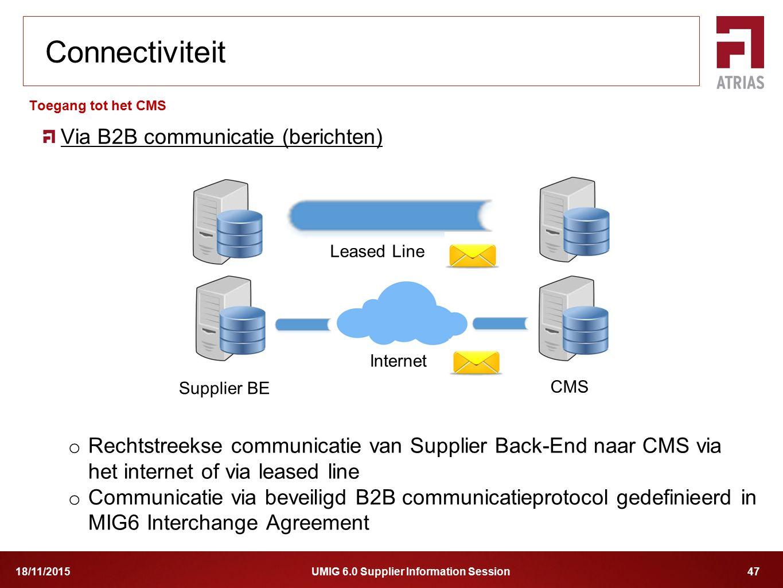 UMIG 6.0 Supplier Information Session 4718/11/2015 Via B2B communicatie (berichten) o Rechtstreekse communicatie van Supplier Back-End naar CMS via he