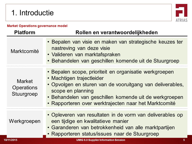 UMIG 6.0 Supplier Information Session 518/11/2015 Market Operations governance model 1. Introductie PlatformRollen en verantwoordelijkheden Marktcomit
