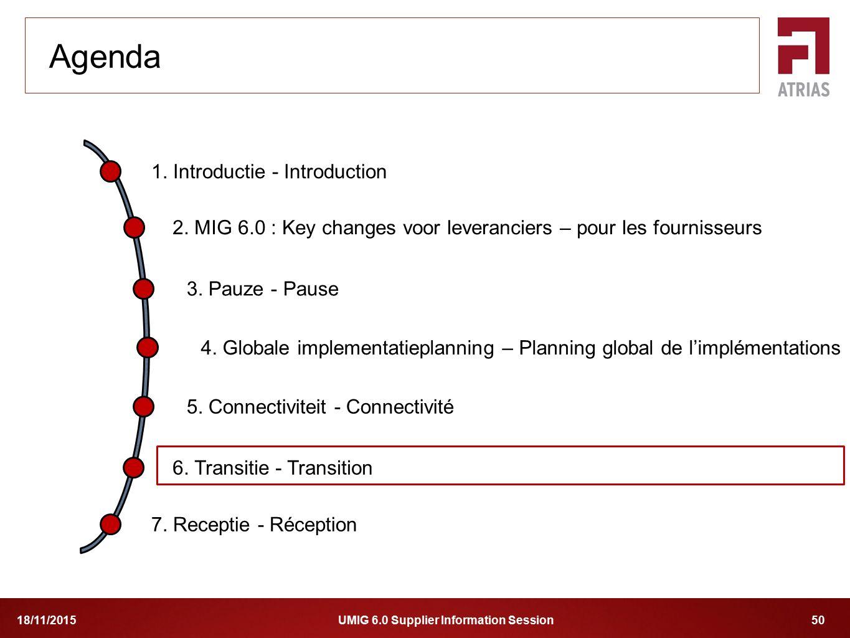 UMIG 6.0 Supplier Information Session 5018/11/2015 1. Introductie - Introduction 2. MIG 6.0 : Key changes voor leveranciers – pour les fournisseurs 4.