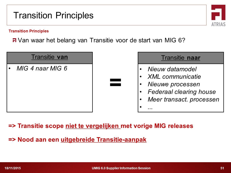 UMIG 6.0 Supplier Information Session 5118/11/2015 Van waar het belang van Transitie voor de start van MIG 6? Transition Principles Transitie van MIG