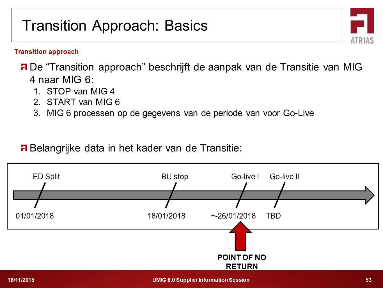 """UMIG 6.0 Supplier Information Session 5318/11/2015 De """"Transition approach"""" beschrijft de aanpak van de Transitie van MIG 4 naar MIG 6: 1.STOP van MIG"""