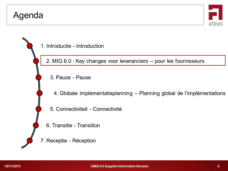 UMIG 6.0 Supplier Information Session 618/11/2015 1. Introductie - Introduction 2. MIG 6.0 : Key changes voor leveranciers – pour les fournisseurs 4.