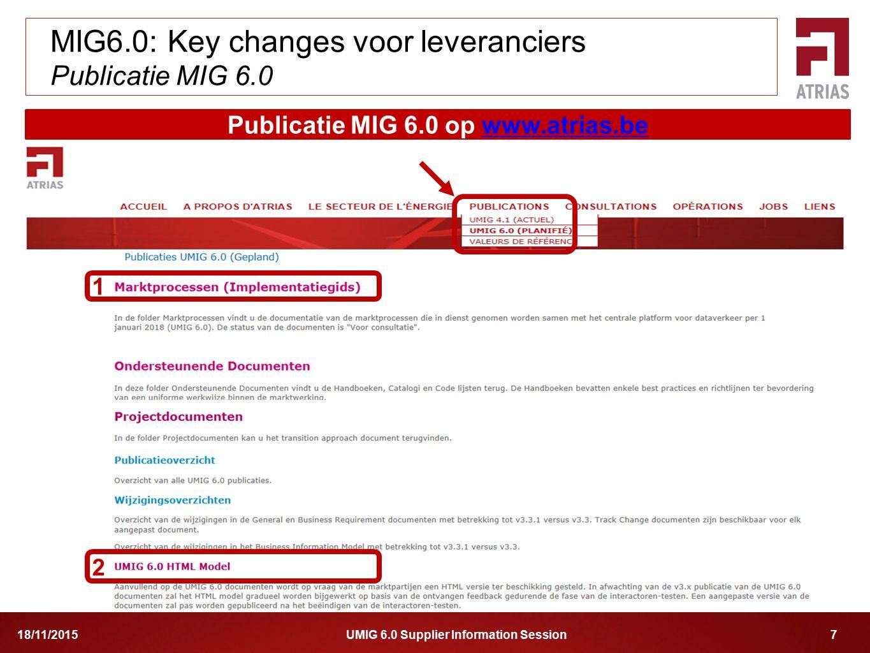 UMIG 6.0 Supplier Information Session 718/11/2015 MIG6.0: Key changes voor leveranciers Publicatie MIG 6.0 Publicatie MIG 6.0 op www.atrias.bewww.atri