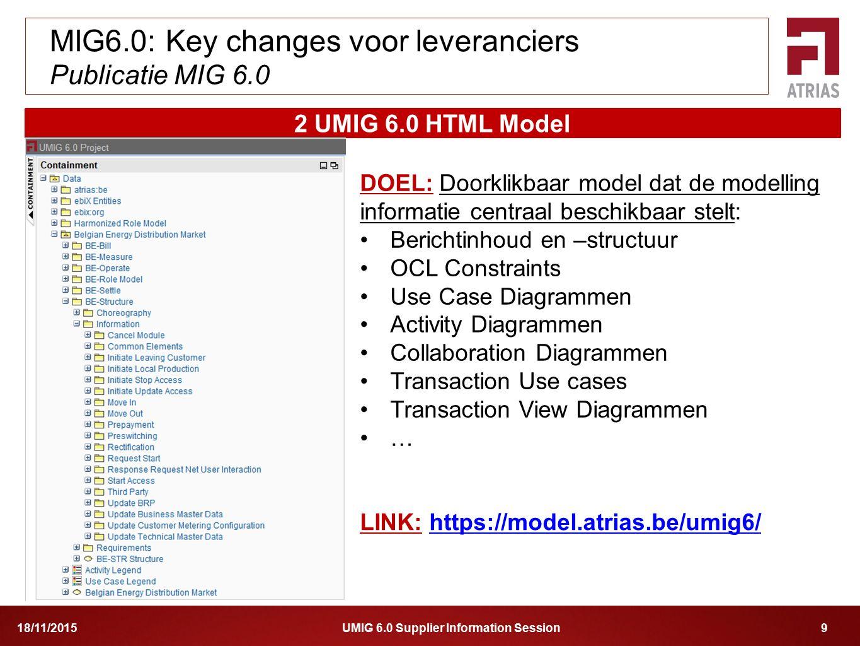 UMIG 6.0 Supplier Information Session 918/11/2015 MIG6.0: Key changes voor leveranciers Publicatie MIG 6.0 2 UMIG 6.0 HTML Model LINK: https://model.a