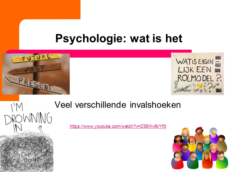 Psychologie: wat is het Veel verschillende invalshoeken https://www.youtube.com/watch?v=238Wvl6rYf0 11