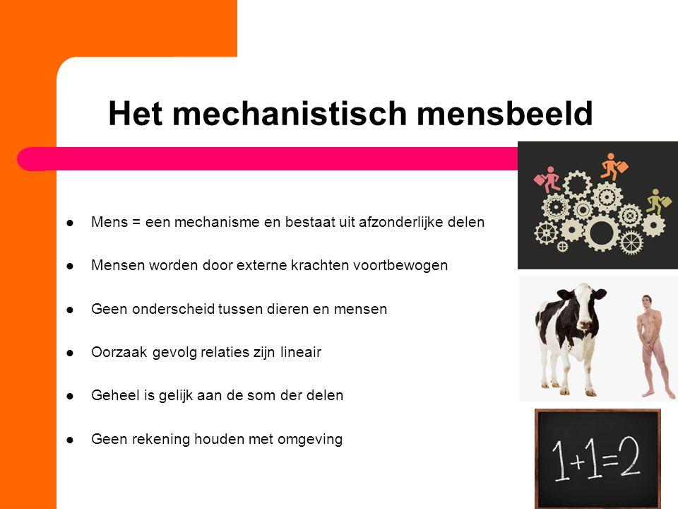 Het mechanistisch mensbeeld Mens = een mechanisme en bestaat uit afzonderlijke delen Mensen worden door externe krachten voortbewogen Geen onderscheid