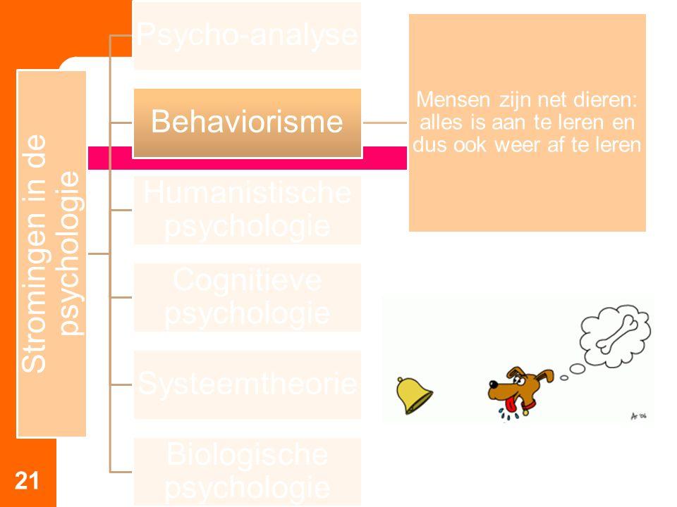 21 Stromingen in de psychologie Psycho-analyse Behaviorisme Mensen zijn net dieren: alles is aan te leren en dus ook weer af te leren Humanistische ps