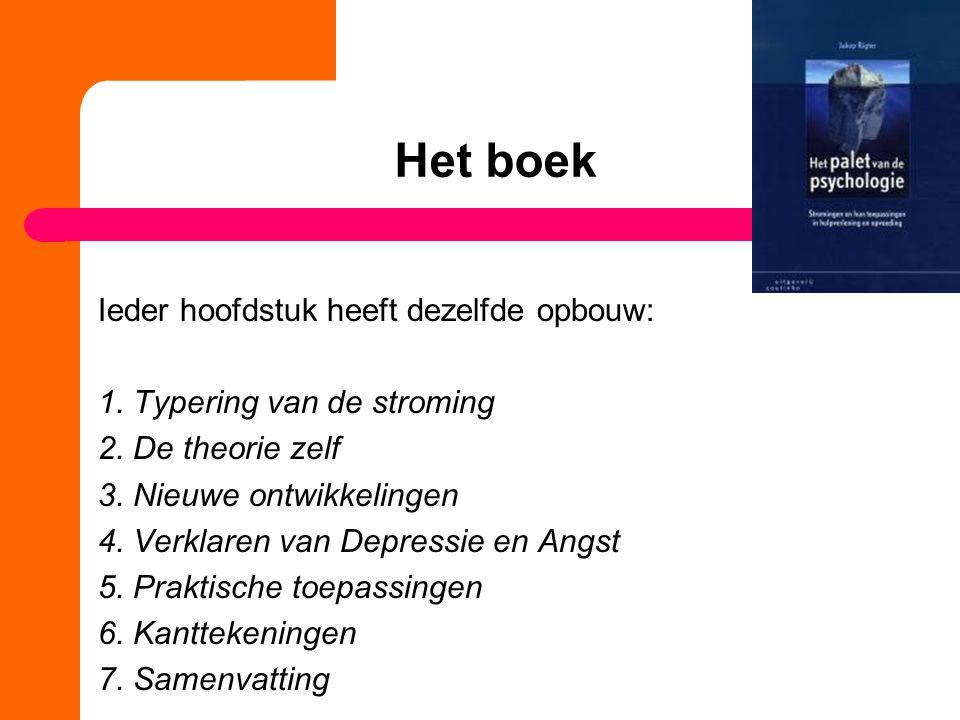 Het boek Ieder hoofdstuk heeft dezelfde opbouw: 1. Typering van de stroming 2. De theorie zelf 3. Nieuwe ontwikkelingen 4. Verklaren van Depressie en