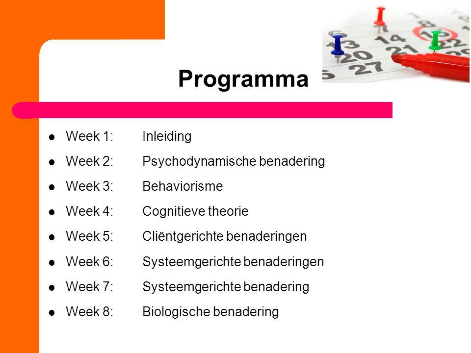 Programma Week 1: Inleiding Week 2: Psychodynamische benadering Week 3: Behaviorisme Week 4:Cognitieve theorie Week 5:Cliëntgerichte benaderingen Week