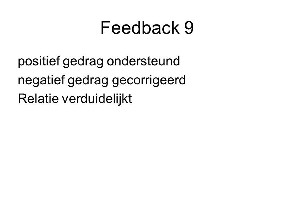 Feedback 9 positief gedrag ondersteund negatief gedrag gecorrigeerd Relatie verduidelijkt