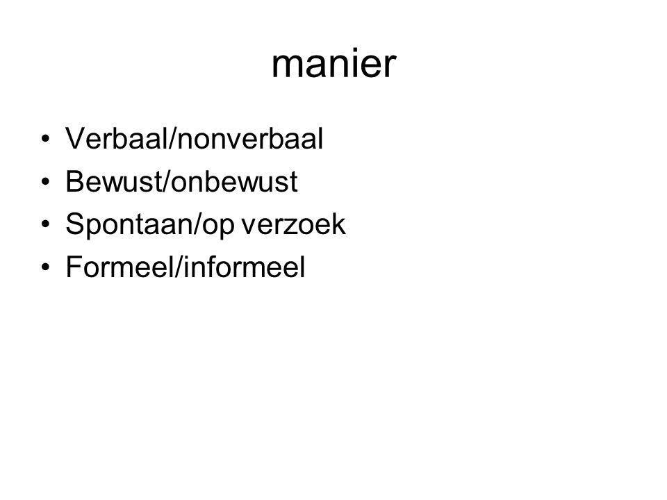 manier Verbaal/nonverbaal Bewust/onbewust Spontaan/op verzoek Formeel/informeel