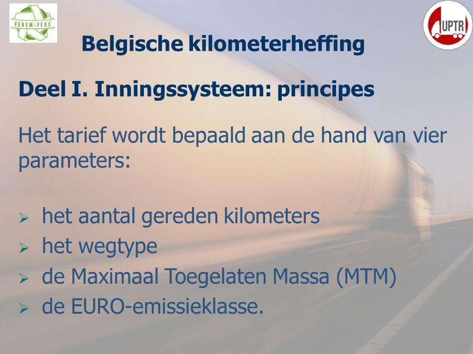 22 Deel I. Inningssysteem: principes Het tarief wordt bepaald aan de hand van vier parameters:  het aantal gereden kilometers  het wegtype  de Maxi