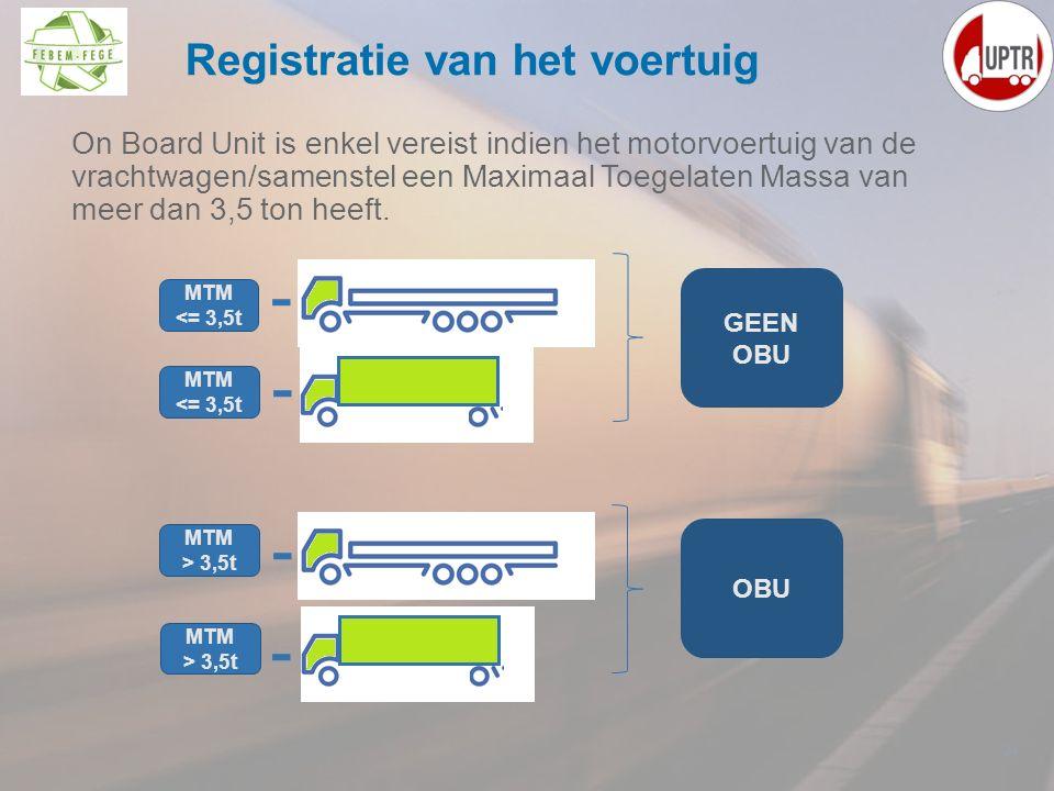 On Board Unit is enkel vereist indien het motorvoertuig van de vrachtwagen/samenstel een Maximaal Toegelaten Massa van meer dan 3,5 ton heeft. 24 Regi