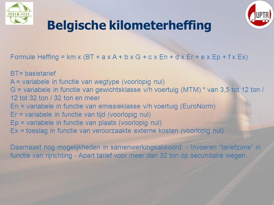 27 Belgische kilometerheffing Formule Heffing = km x (BT + a x A + b x G + c x En + d x Er + e x Ep + f x Ex) BT= basistarief A = variabele in functie