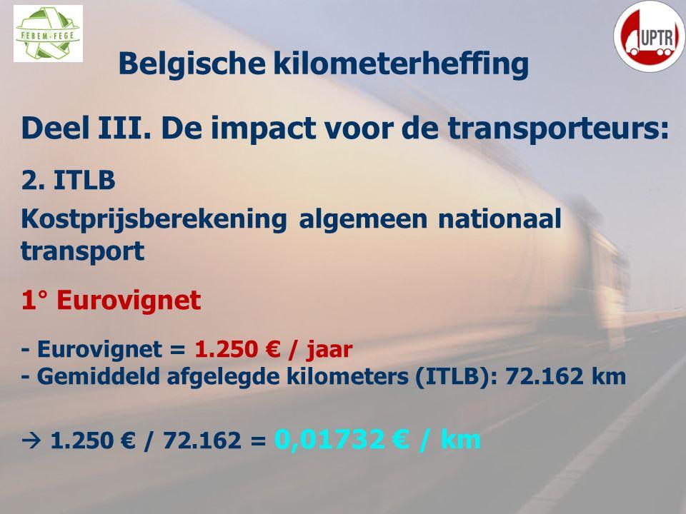 53 Deel III. De impact voor de transporteurs: 2. ITLB Kostprijsberekening algemeen nationaal transport 1° Eurovignet - Eurovignet = 1.250 € / jaar - G