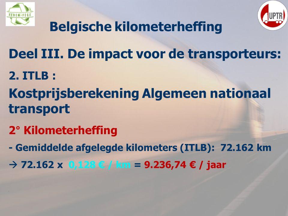 54 Deel III. De impact voor de transporteurs: 2. ITLB : Kostprijsberekening Algemeen nationaal transport 2° Kilometerheffing - Gemiddelde afgelegde ki