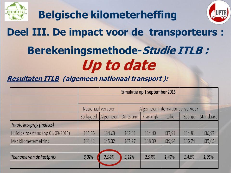 57 Deel III. De impact voor de transporteurs : Berekeningsmethode-Studie ITLB : Up to date Resultaten ITLB (algemeen nationaal transport ): M Belgisch