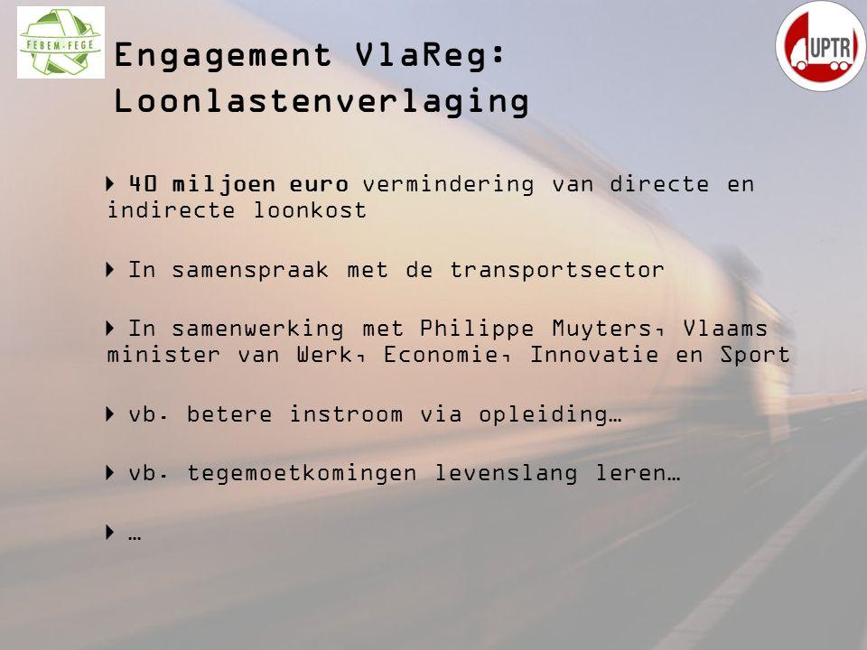 Engagement VlaReg: Loonlastenverlaging 40 miljoen euro vermindering van directe en indirecte loonkost In samenspraak met de transportsector In samenwe