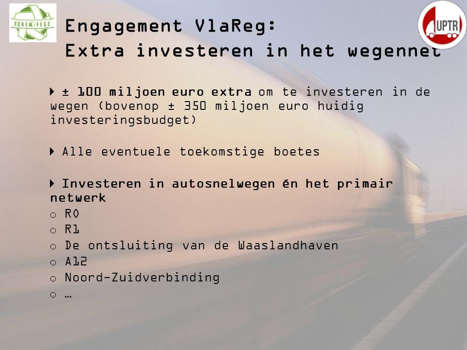 ± 100 miljoen euro extra om te investeren in de wegen (bovenop ± 350 miljoen euro huidig investeringsbudget) Alle eventuele toekomstige boetes Investe
