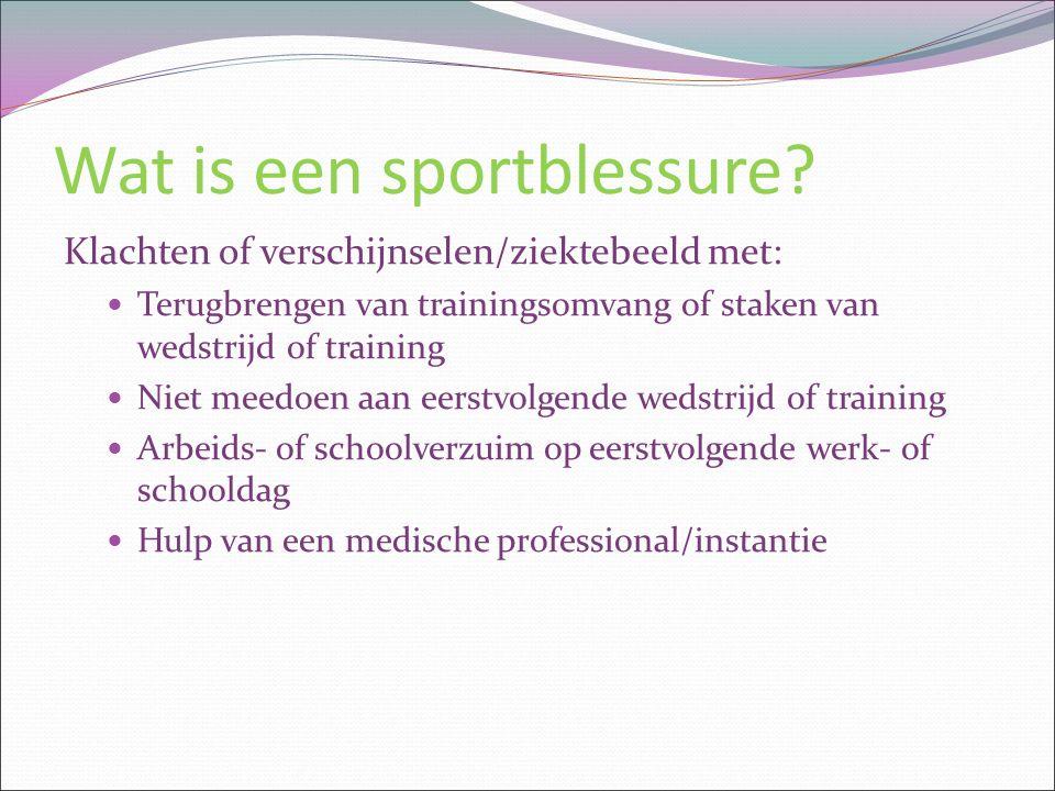 Wat is een sportblessure? Klachten of verschijnselen/ziektebeeld met: Terugbrengen van trainingsomvang of staken van wedstrijd of training Niet meedoe