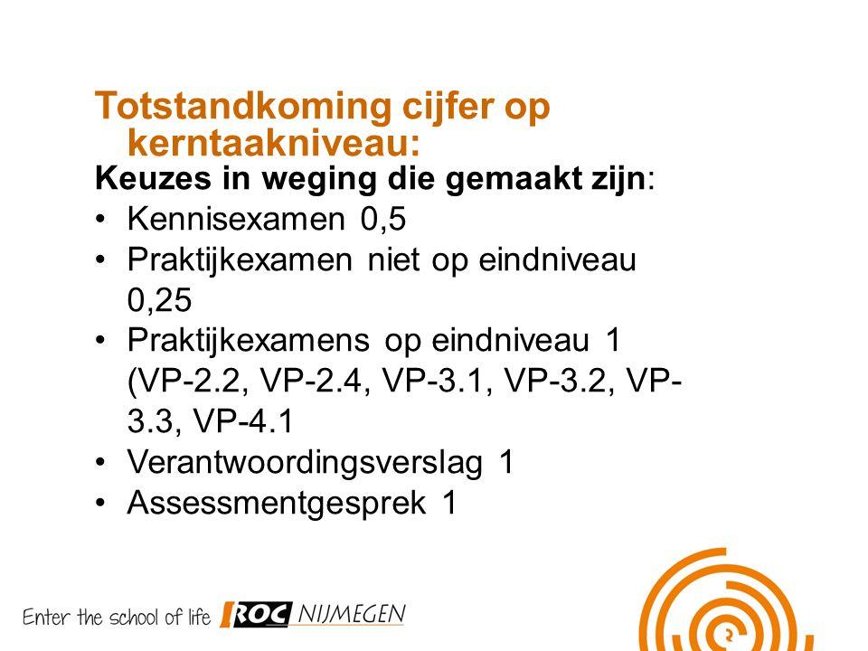 Totstandkoming cijfer op kerntaakniveau: Keuzes in weging die gemaakt zijn: Kennisexamen 0,5 Praktijkexamen niet op eindniveau 0,25 Praktijkexamens op eindniveau 1 (VP-2.2, VP-2.4, VP-3.1, VP-3.2, VP- 3.3, VP-4.1 Verantwoordingsverslag 1 Assessmentgesprek 1