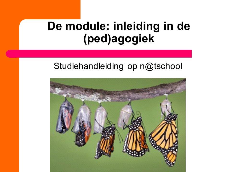 De module: inleiding in de (ped)agogiek Studiehandleiding op n@tschool