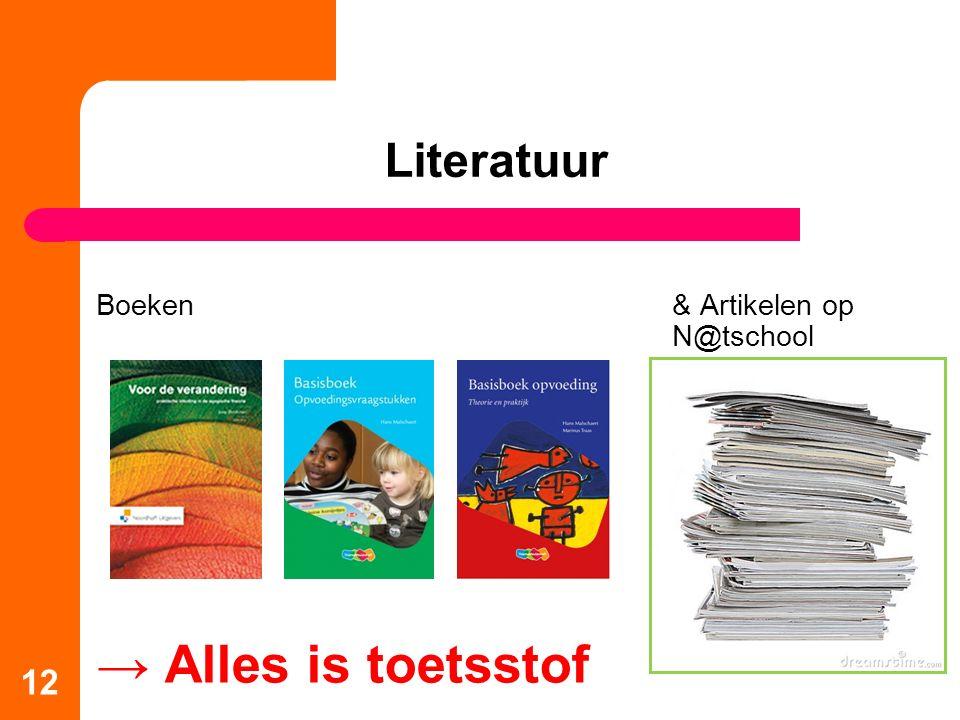 Literatuur Boeken& Artikelen op N@tschool → Alles is toetsstof 12