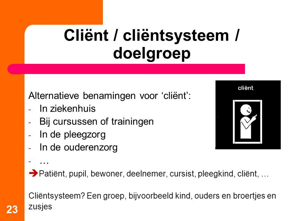 23 Cliënt / cliëntsysteem / doelgroep Alternatieve benamingen voor 'cliënt': - In ziekenhuis - Bij cursussen of trainingen - In de pleegzorg - In de ouderenzorg -…-…  Patiënt, pupil, bewoner, deelnemer, cursist, pleegkind, cliënt, … Cliëntsysteem.