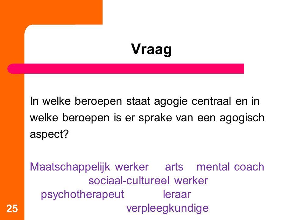 25 Vraag In welke beroepen staat agogie centraal en in welke beroepen is er sprake van een agogisch aspect? Maatschappelijk werker arts mental coach s