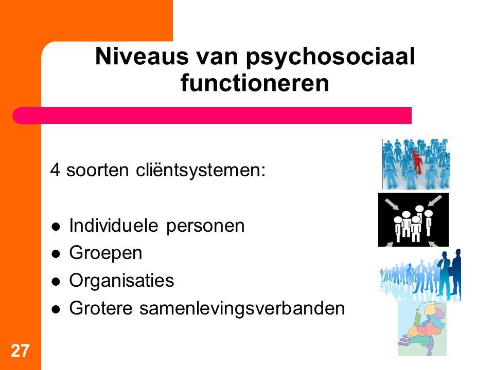 27 Niveaus van psychosociaal functioneren 4 soorten cliëntsystemen: Individuele personen Groepen Organisaties Grotere samenlevingsverbanden