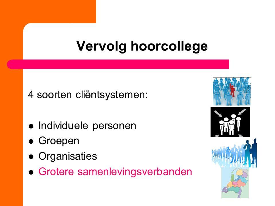 Vervolg hoorcollege 4 soorten cliëntsystemen: Individuele personen Groepen Organisaties Grotere samenlevingsverbanden
