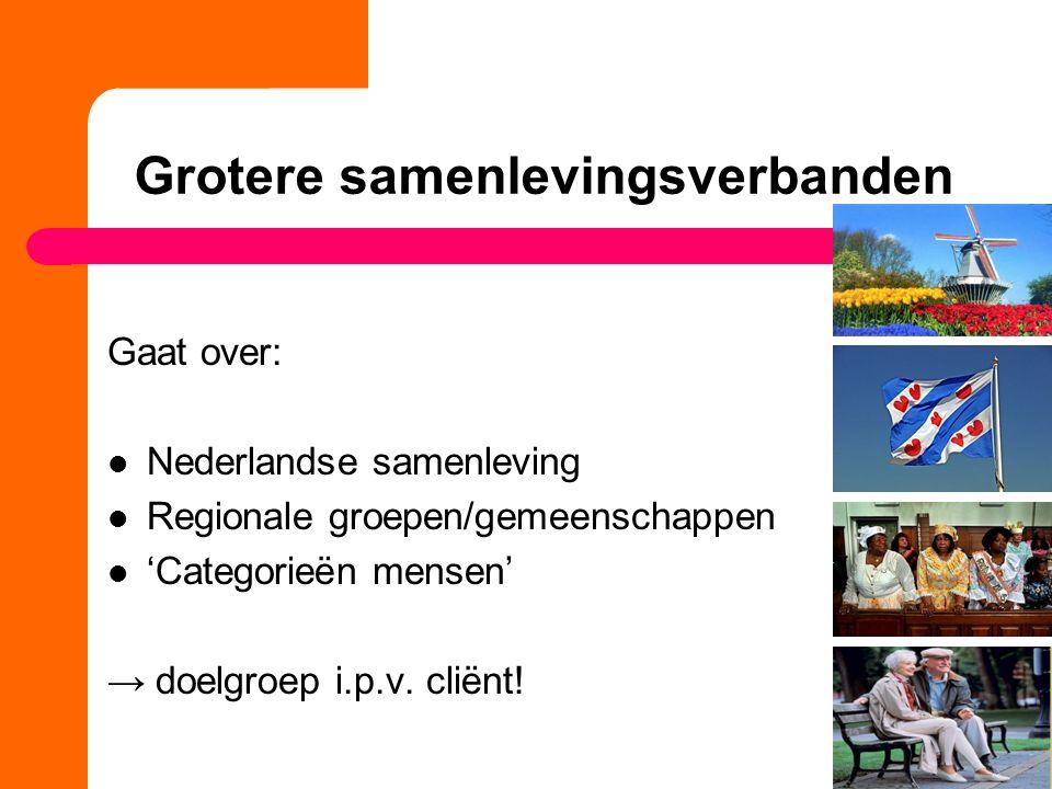 Gaat over: Nederlandse samenleving Regionale groepen/gemeenschappen 'Categorieën mensen' → doelgroep i.p.v. cliënt!
