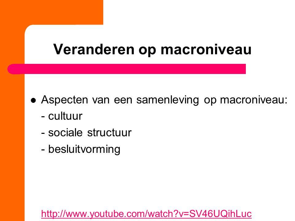 Veranderen op macroniveau Aspecten van een samenleving op macroniveau: - cultuur - sociale structuur - besluitvorming http://www.youtube.com/watch?v=SV46UQihLuc