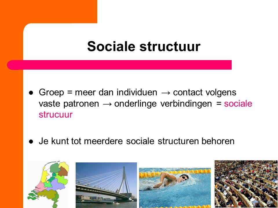 Sociale structuur Groep = meer dan individuen → contact volgens vaste patronen → onderlinge verbindingen = sociale strucuur Je kunt tot meerdere sociale structuren behoren