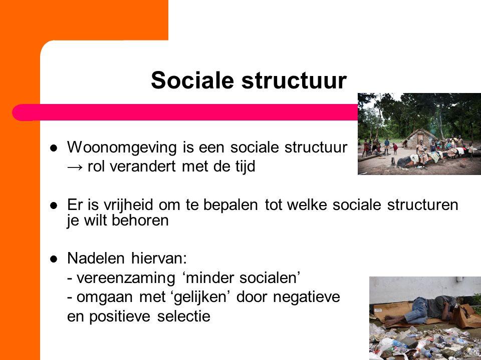 Sociale structuur Woonomgeving is een sociale structuur → rol verandert met de tijd Er is vrijheid om te bepalen tot welke sociale structuren je wilt behoren Nadelen hiervan: - vereenzaming 'minder socialen' - omgaan met 'gelijken' door negatieve en positieve selectie
