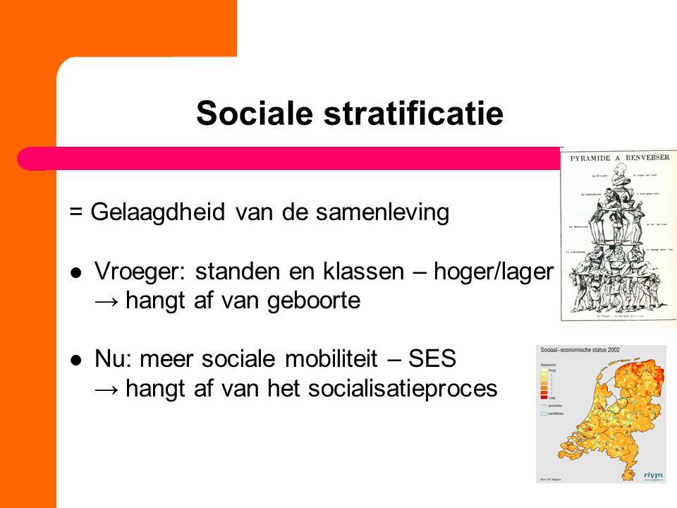 Sociale stratificatie = Gelaagdheid van de samenleving Vroeger: standen en klassen – hoger/lager → hangt af van geboorte Nu: meer sociale mobiliteit – SES → hangt af van het socialisatieproces