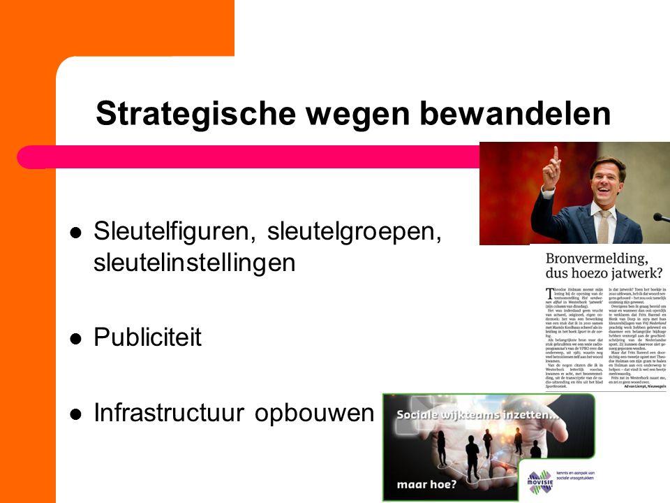 Strategische wegen bewandelen Sleutelfiguren, sleutelgroepen, sleutelinstellingen Publiciteit Infrastructuur opbouwen