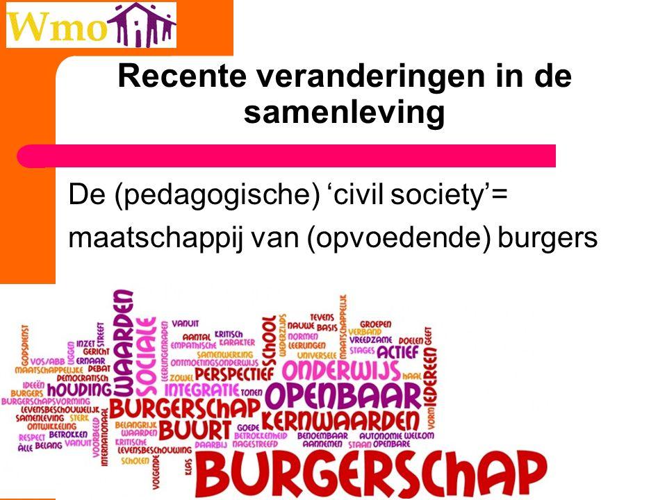 Recente veranderingen in de samenleving De (pedagogische) 'civil society'= maatschappij van (opvoedende) burgers 46
