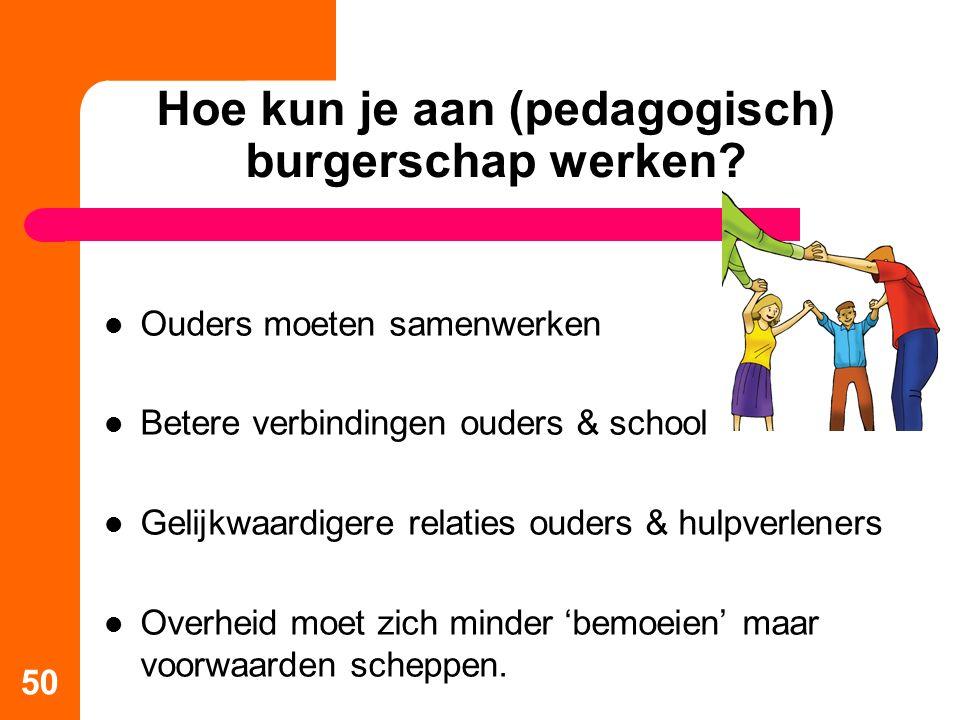 Hoe kun je aan (pedagogisch) burgerschap werken? Ouders moeten samenwerken Betere verbindingen ouders & school Gelijkwaardigere relaties ouders & hulp