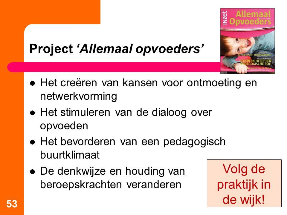 Project 'Allemaal opvoeders' Het creëren van kansen voor ontmoeting en netwerkvorming Het stimuleren van de dialoog over opvoeden Het bevorderen van e