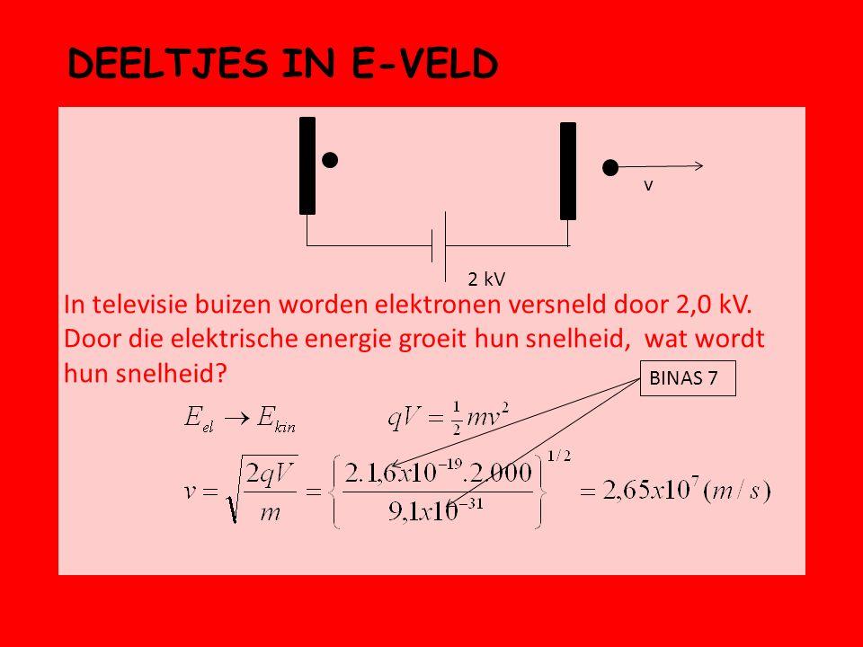 DEELTJES IN E-VELD In televisie buizen worden elektronen versneld door 2,0 kV. Door die elektrische energie groeit hun snelheid, wat wordt hun snelhei