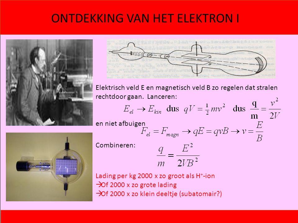 ONTDEKKING VAN HET ELEKTRON I Elektrisch veld E en magnetisch veld B zo regelen dat stralen rechtdoor gaan. Lanceren: en niet afbuigen Combineren: Lad