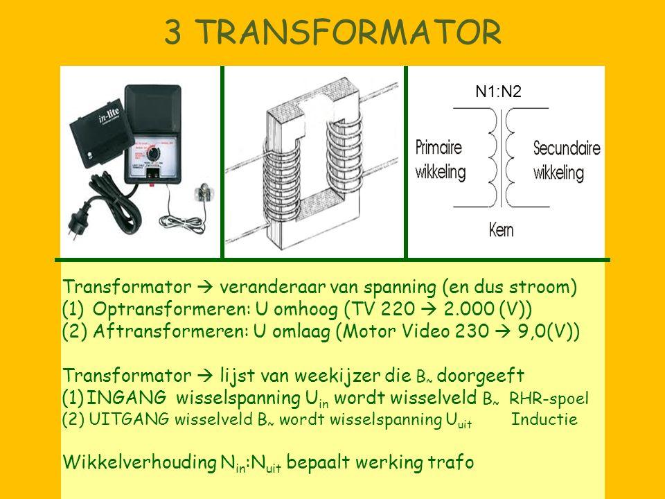 3 TRANSFORMATOR Transformator  veranderaar van spanning (en dus stroom) (1) Optransformeren: U omhoog (TV 220  2.000 (V)) (2) Aftransformeren: U oml