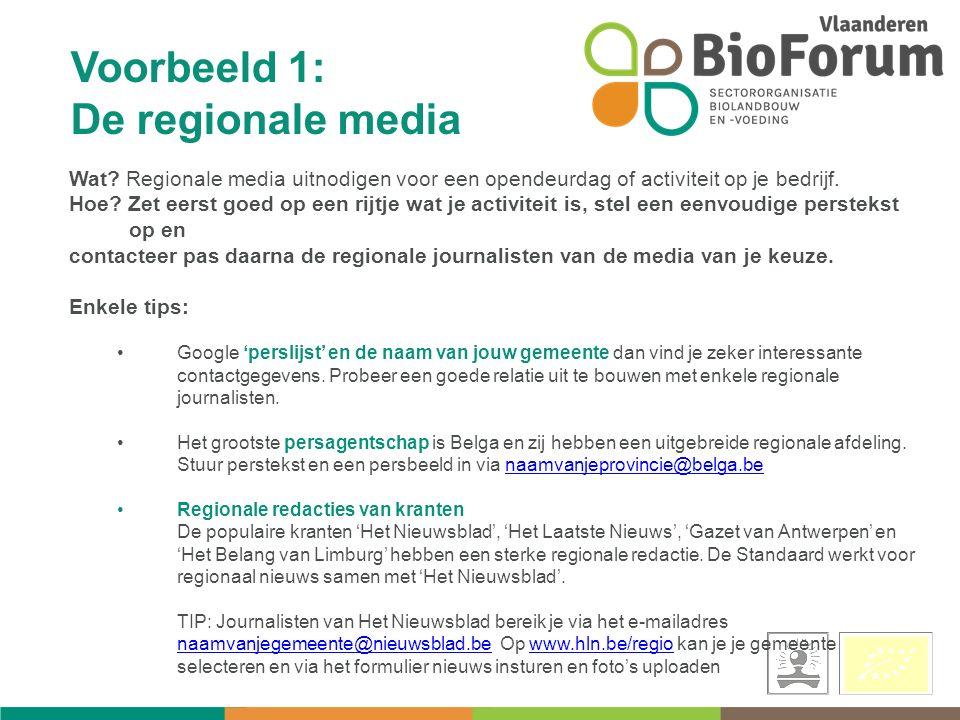 Voorbeeld 1: De regionale media Wat.