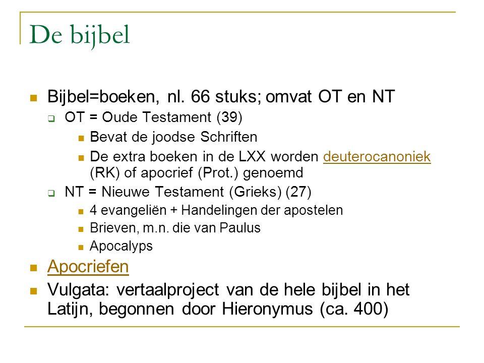 De bijbel Bijbel=boeken, nl.