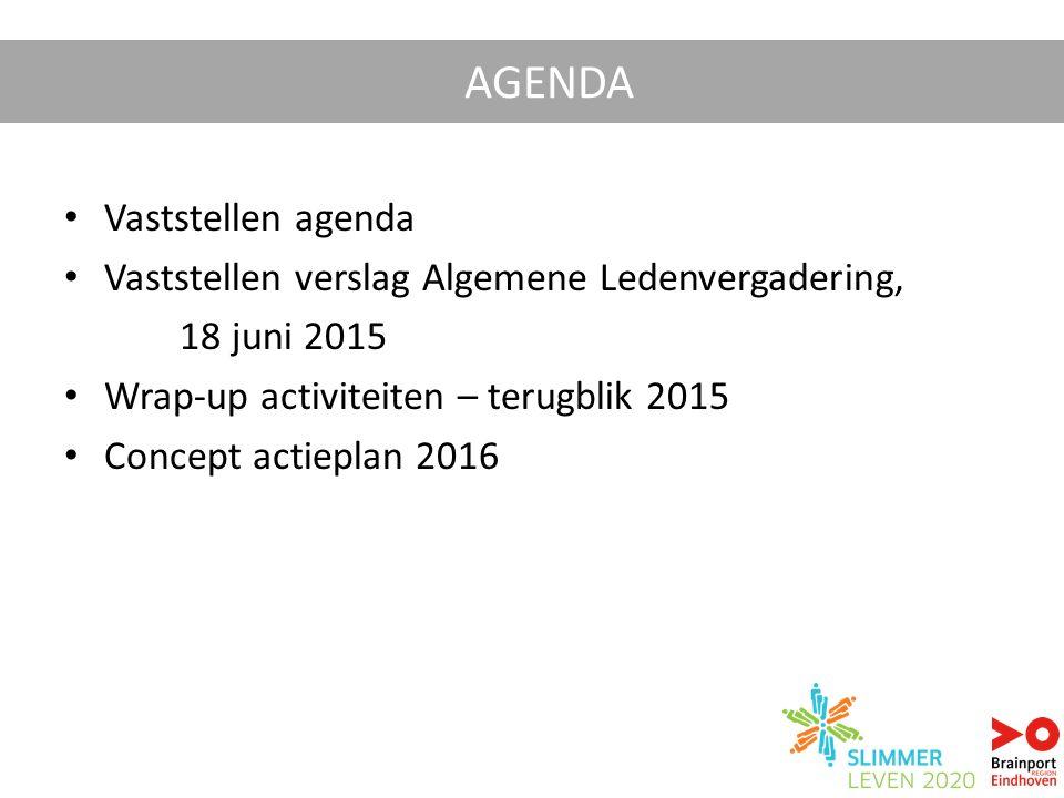 Vaststellen agenda Vaststellen verslag Algemene Ledenvergadering, 18 juni 2015 Wrap-up activiteiten – terugblik 2015 Concept actieplan 2016 AGENDA