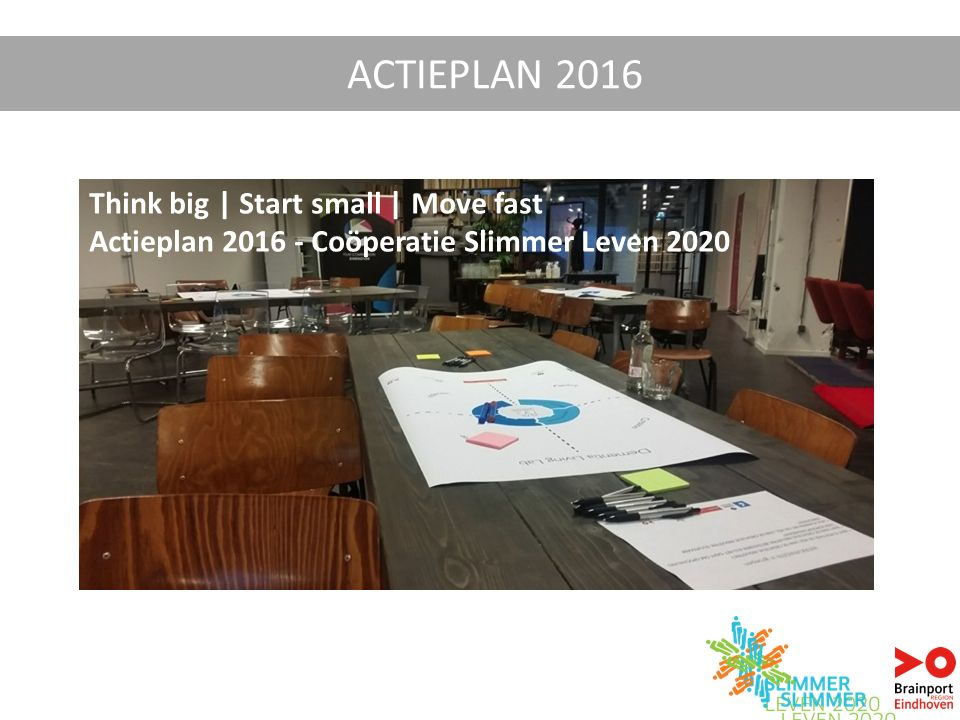 ACTIEPLAN 2016 Think big | Start small | Move fast Actieplan 2016 - Coöperatie Slimmer Leven 2020