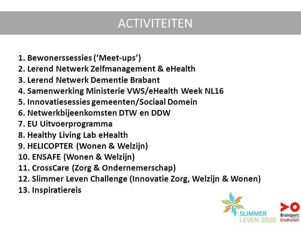 1. Bewonerssessies ('Meet-ups') 2. Lerend Netwerk Zelfmanagement & eHealth 3. Lerend Netwerk Dementie Brabant 4. Samenwerking Ministerie VWS/eHealth W